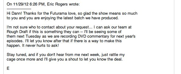 Email response from writer on Futurama